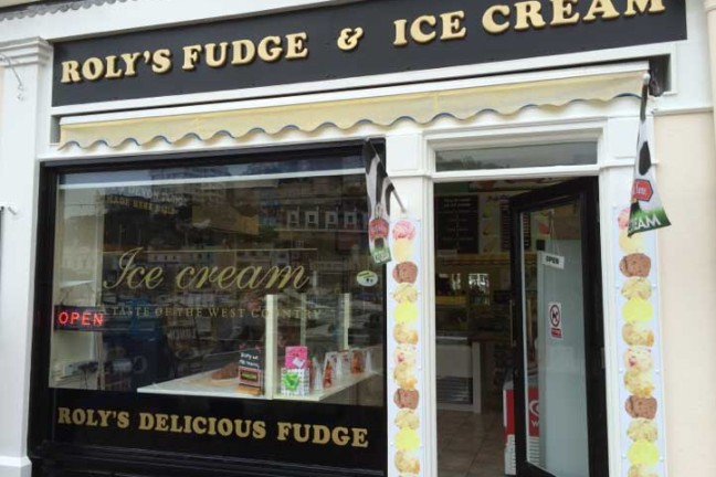 Outside Roly's Fudge Torquay