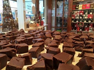 A Chocolate Fudge being made at Roly's Fudge Salcombe
