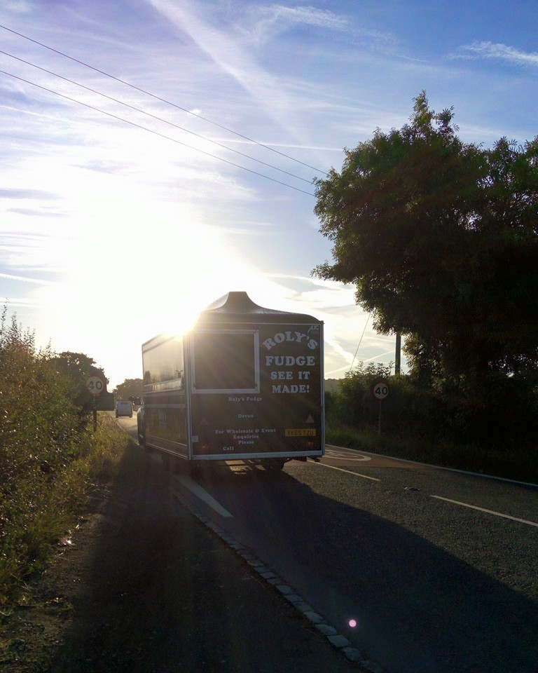 Roly's Fudge Trailer on the Road