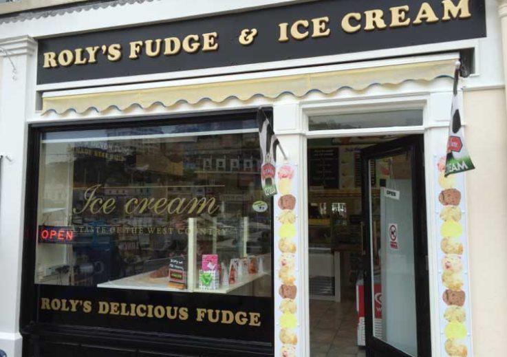 Outside Roly's Fudge Torquay