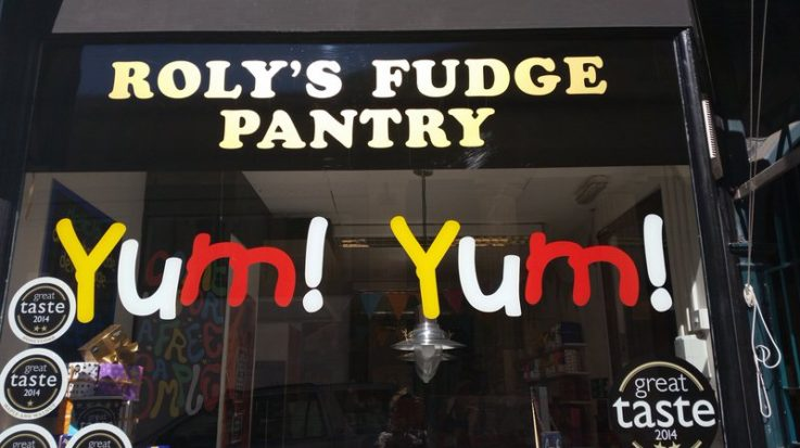 Outside Roly's Fudge Exeter
