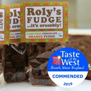 Roly's Dairy-Free Chocolate Orange Fudge wins HIGHLY COMMENDED at Taste of the West